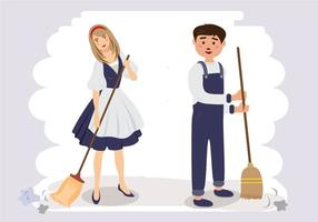 Couple Sweeping Cartoon Vector