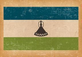 Grunge flagga av Lesotho
