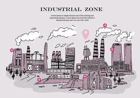 Industriële Zone Rook Stack Krabbel Vector Illustratie
