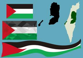 Gaza Flag and Map vector