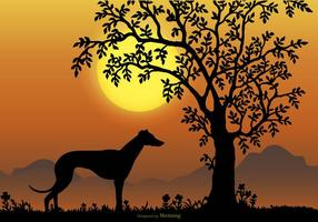 Landscape Scene with Whippet Breed Silhouette vector