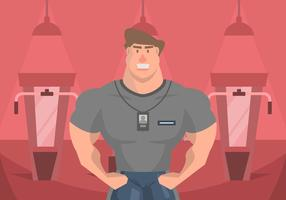 muscleman personal trainer illustration