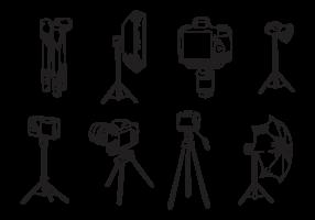 Vettori di treppiede per macchina fotografica disegnati a mano libera