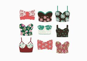 Floral Patterned Bustier Vectors