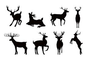 Deer or Caribou Silhouettes Vector