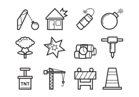 Demolition Pictogrammen Vector