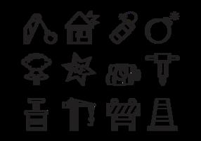 Vector de ícones de demolição