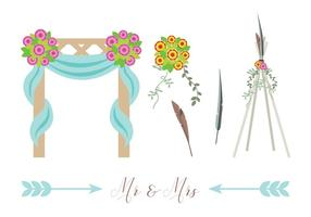 Boho Beach Wedding Vectors