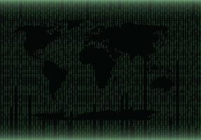 Vector verde del mapa del mundo de la matriz
