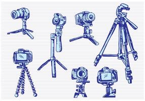 Camera Tripod Sketch Drawing Style vector