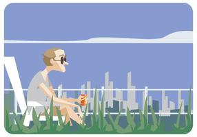 Man Sitting in Lawn Chair Vector
