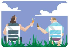 Two Men Toast Each Other in Lawn Chairs Vector