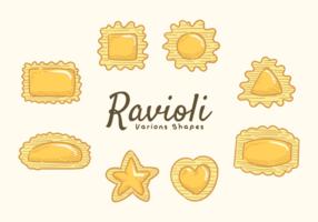 Ravioli Iconos Vector
