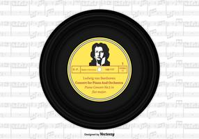 Beethoven Vinyl Single Record Vektor Design