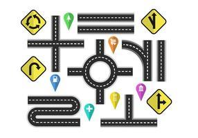 Variación de carreteras con signos de la calle elementos vectoriales