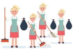 Vettori di personaggi femminili pulizia fino