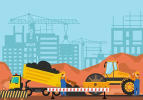Steamroller For Construction vector