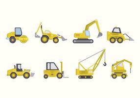 Vetores de máquinas de construção plana