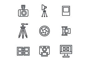 Skisserade fotografi ikoner