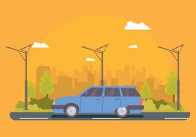 Gratis Blue Station Wagon Illustration