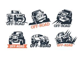 Set of Six Off-road Suv Logos Isolated on White Background