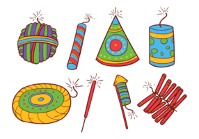 Diwali Fire Crackers Icons Vector