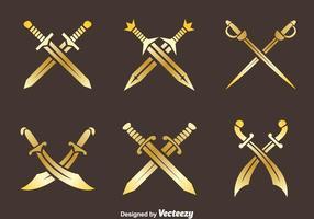 Vectores de la espada de la cruz de oro