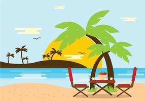 Beach Scene with Chair Vector