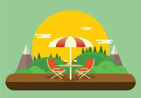 Romantische Lawn Chair Set Up With Wijnbrillen Vector