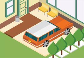 Station wagon isometrico parcheggiato a casa vettoriale