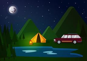 Station Wagon Camp Free Vector