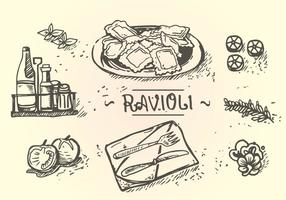 Ravioli Menu Hand Drawing vector