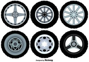 Iconos de las ruedas de la aleación del vector