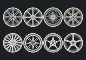 Ícones de vetor de rodas de liga leve