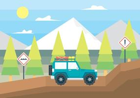 Ilustração do carro fora da estrada