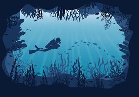 Grotta undervattensfri vektor