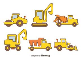 Bouwmachines Pictogrammen Vector