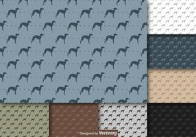 Vector de repetición de Whippet Dog Icon Pattern