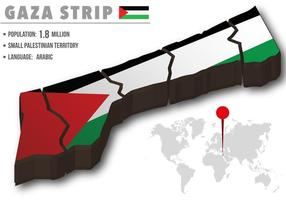 Gaza Strip World Map With Its Flag