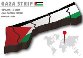 Mapa del mundo de la tira de Gaza del vector con su bandera