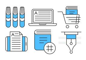 Linear Book Icons vector