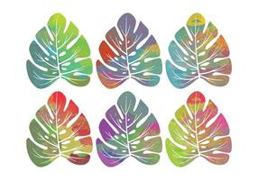 Vector Watercolor Tropical Leaves