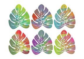 Folhas tropicais de aquarela de vetor
