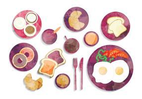 Ilustración del desayuno de la acuarela del vector