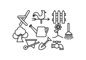 Vector d'icônes de ligne de jardinage gratuit