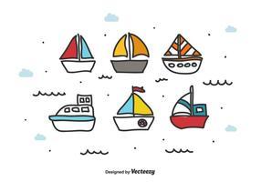 Doodle conjunto de vectores de barco