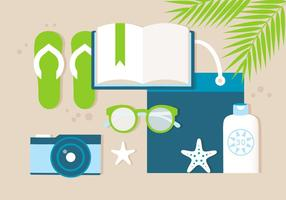 Elementos de horário de Verão do vetor de desenho livre