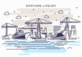 Shipyard Work Lineart Illustration vector