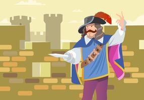 A Musketeer Guards The Castle Vector
