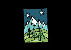 Night Time Mountain Landscape vector